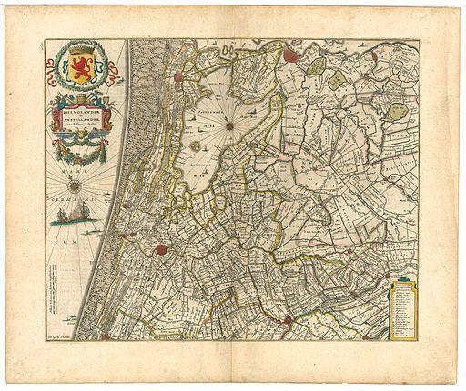 Kaart van Rijnland en Amstelland, voor 1639.