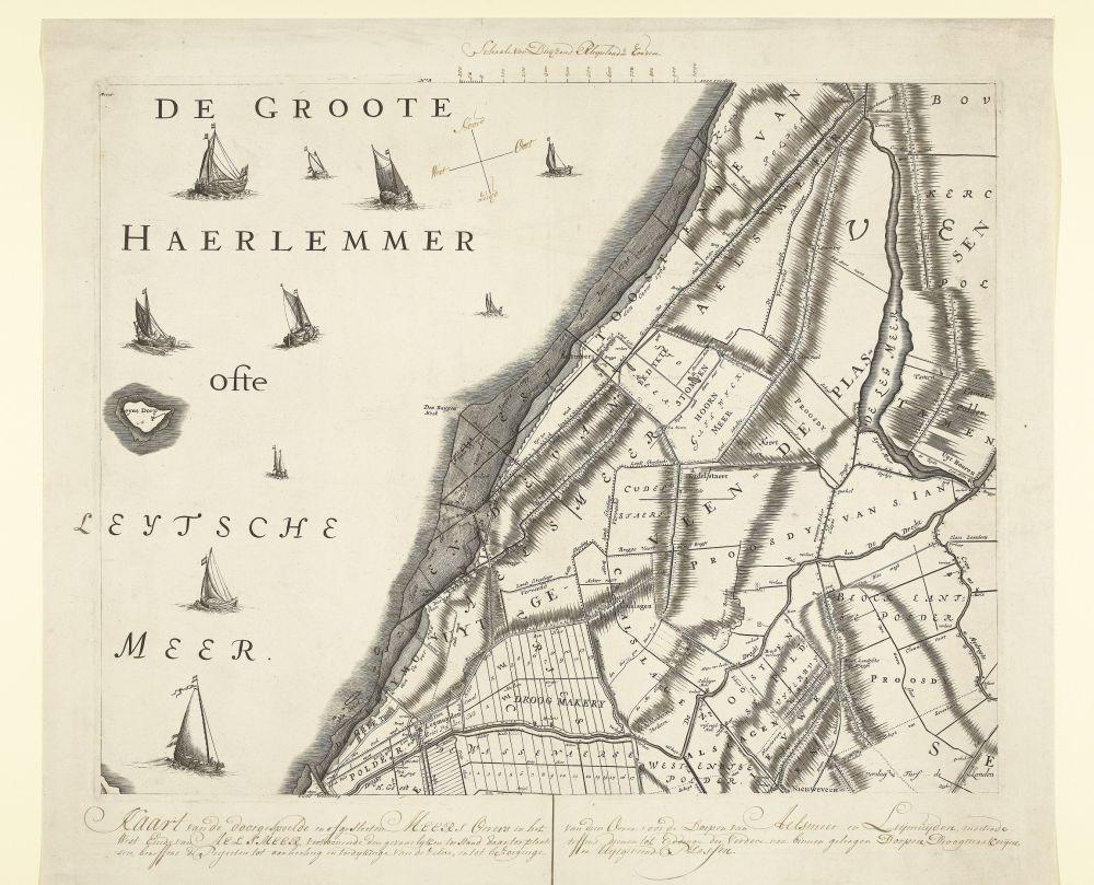 Kaart met de oude oevers van de Haarlemmermeer
