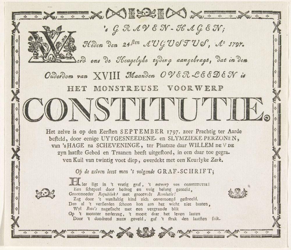Spottend begrafenisbriefje over het eerste referendum.