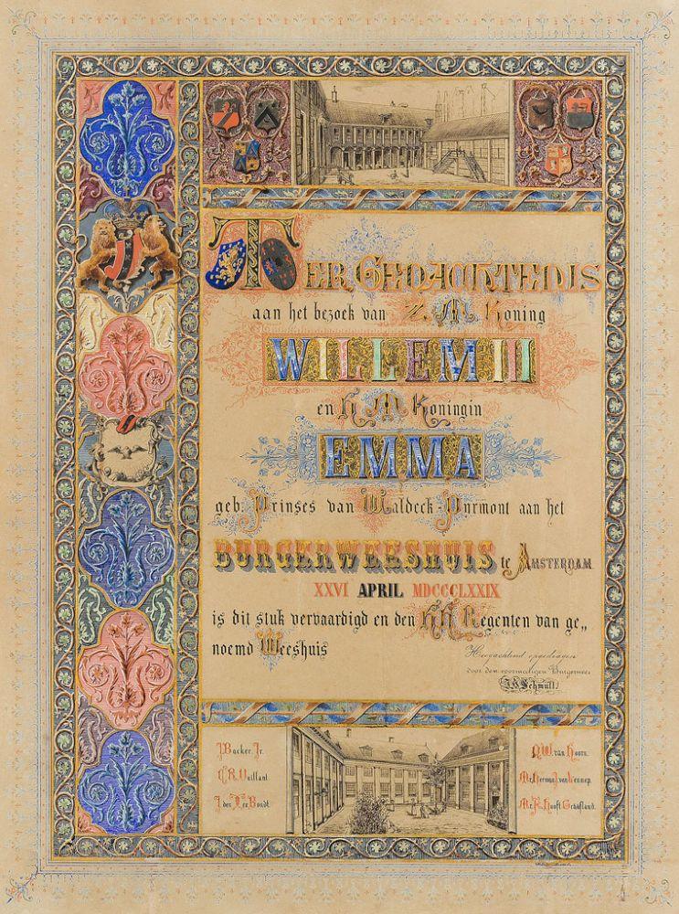 Gedenkplaat t.g.v. bezoek koning Willem III en koningin Emma aan het Burgerweeshuis, 26 april 1879.
