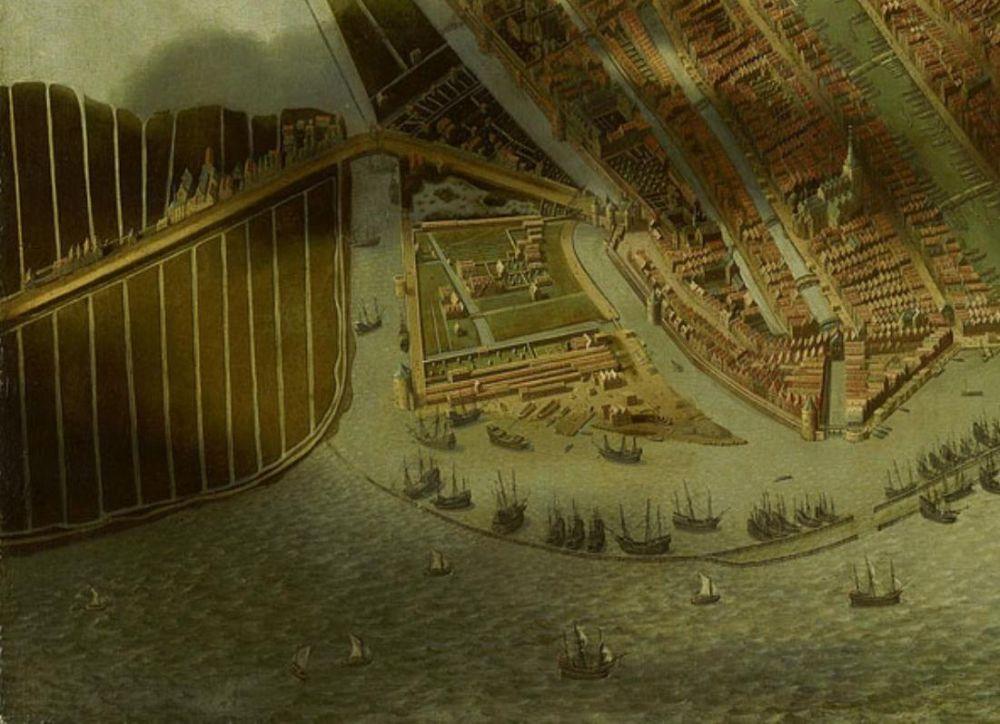 Amsterdam in vogelvlucht, ca. 1540, detail.