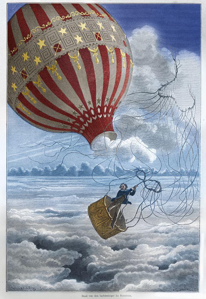 Dood van de luchtreiziger La Mountain, 1875.