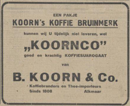 Advertentie Koorn & Co in de oorlog