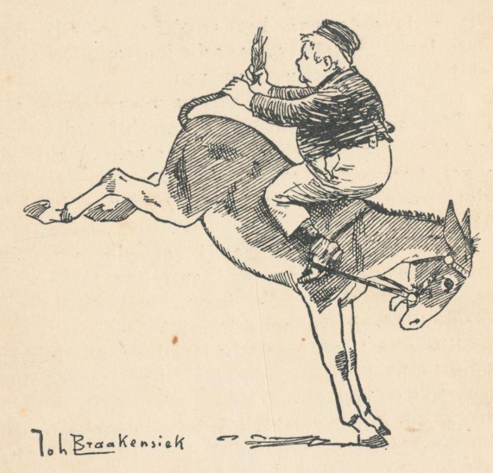 Dik Trom op de ezel; Illustratie van Joh. Braakensiek uit 'Dik Trom en zijn dorpsgenoten' door C. Joh. Kieviet. Beeld: Janwillemsen, flickr.com