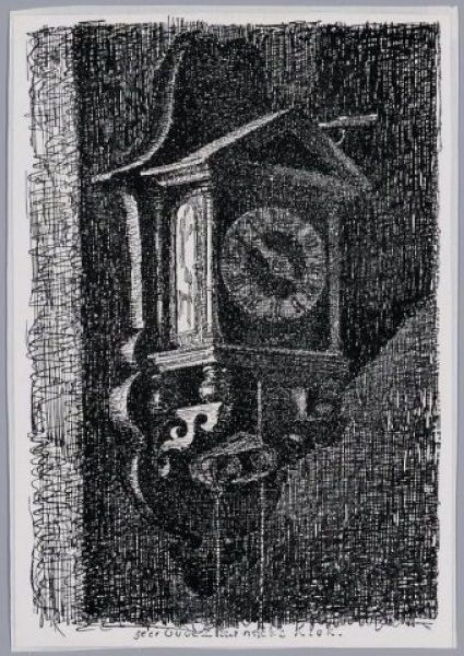 Een zeer oude Zaanse klok, drukwerk naar pentekening door Feliciën Bobeldijk.