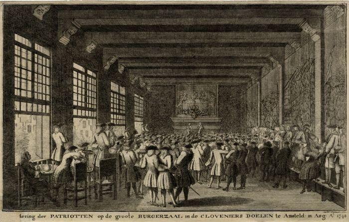 Vergadering der patriotten op de groote burgerzaal in de Cloveniers Doelen te Amsteld: in Aug: 1748.