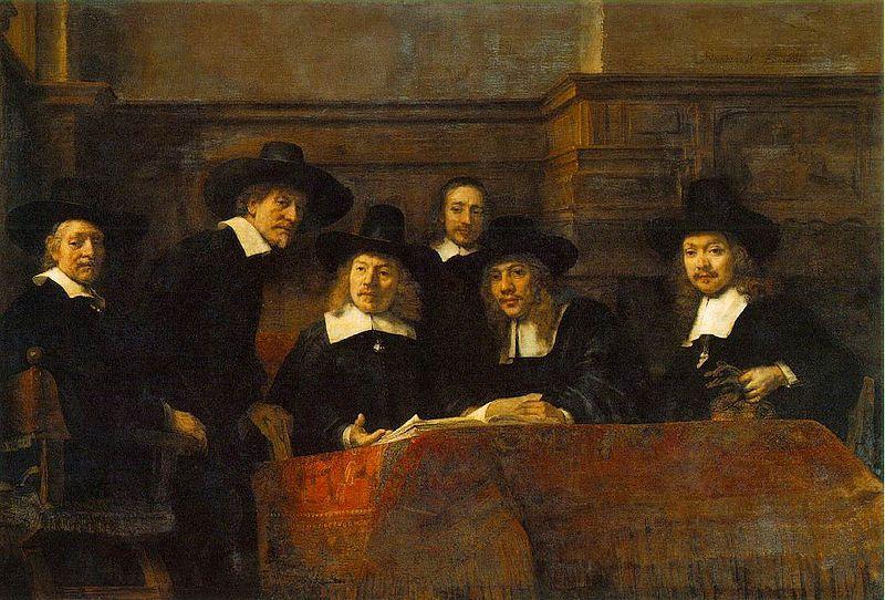 Staalmeesters uit Amsterdam, met een stalenboek op tafel