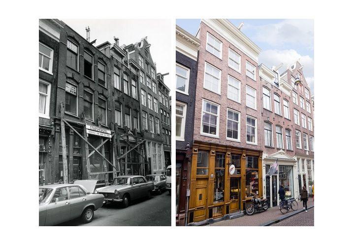Reestraat 15-17 Amsterdam, voor en na restauratie