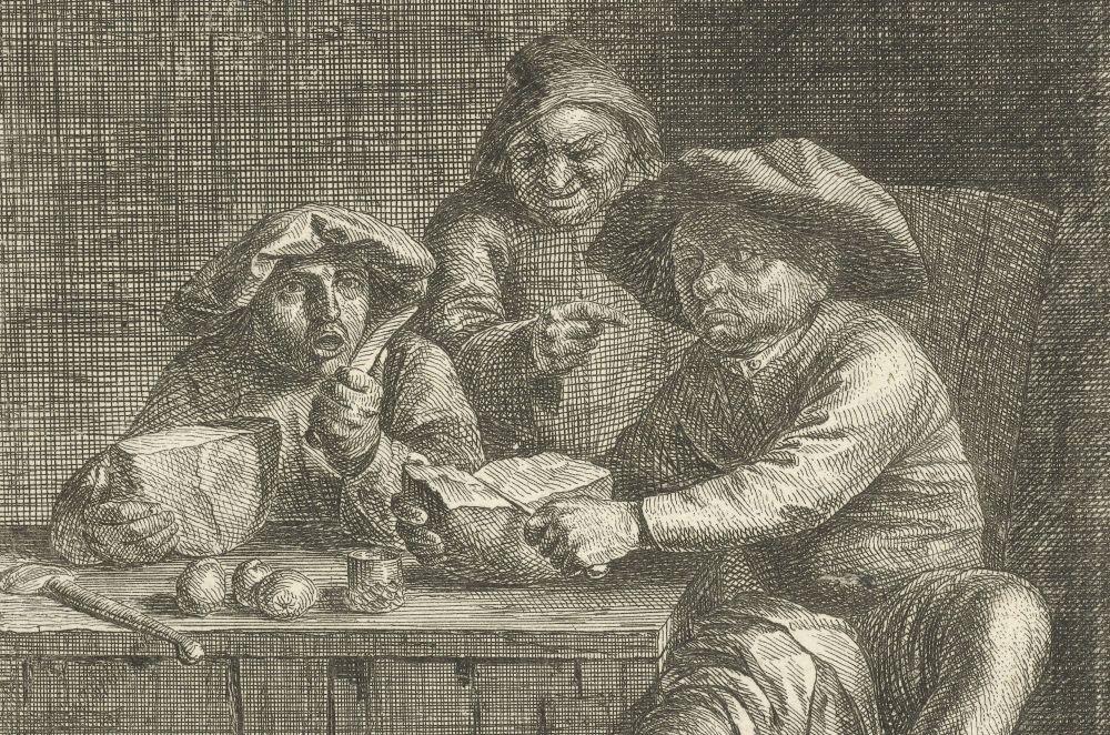 Boeren aan tafel met brood (detail)