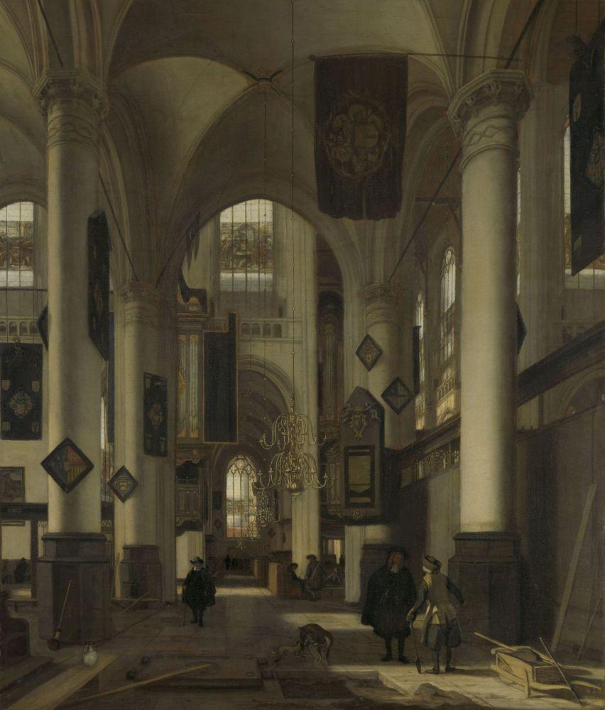 Kerkinterieur met grafdelver, door Emanuel de Witte, 1667.