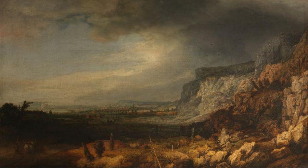 Berglandschap met vergezicht, ooit toegeschreven aan Rembrandt