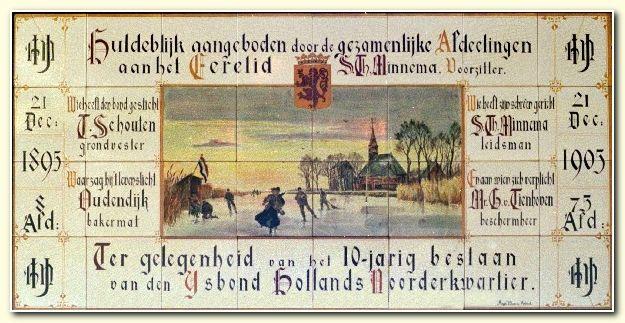Tegeltableau van de IJsbond Hollands Noorderkwartier uit 1905.