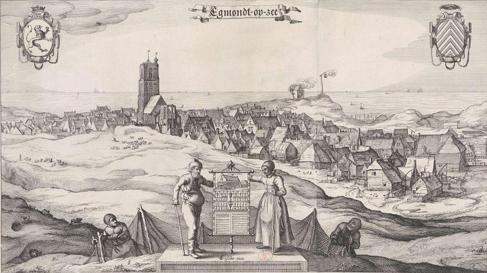 Gezicht op Egmond aan Zee, Claes Jansz. Visscher (II), 1615 - 1618