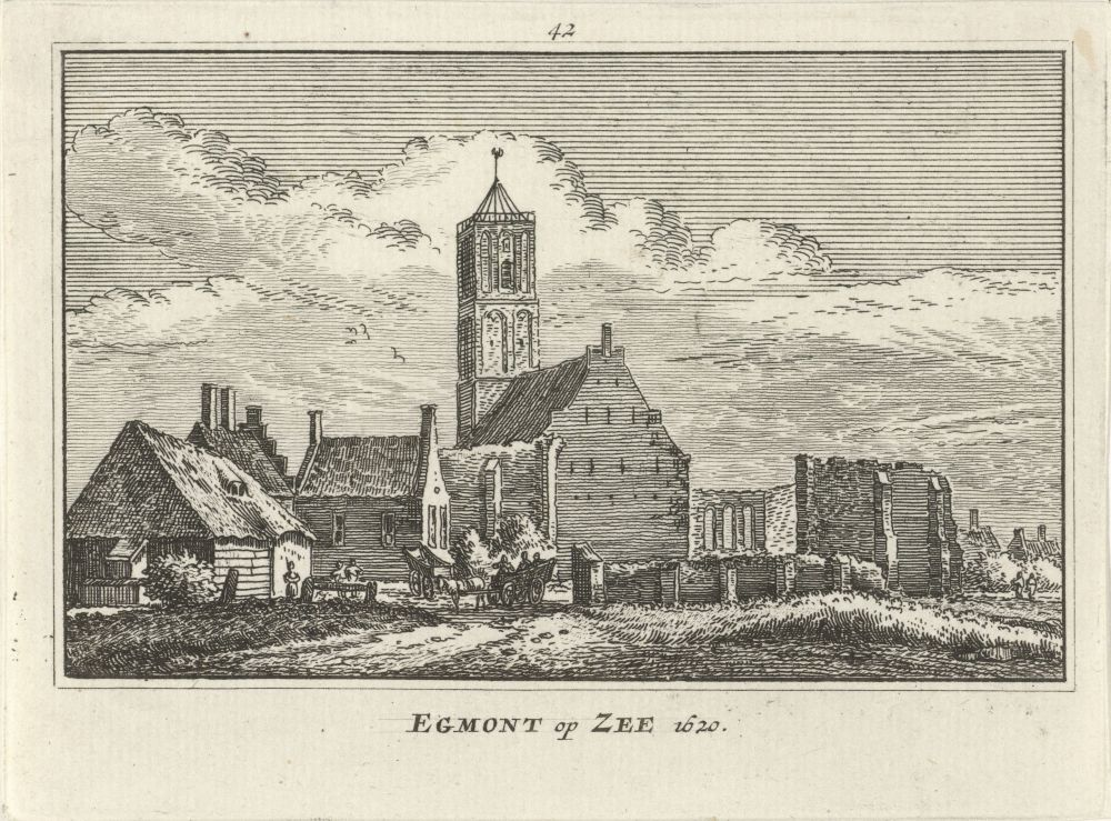 Gezicht op Egmond aan Zee in 1620 door Abraham Rademaker, 1727 - 1733.