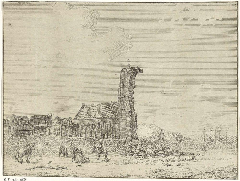 Ingestorte toren te Egmond aan Zee, 1741, Adriaan Spinder, 1741 - 1791.