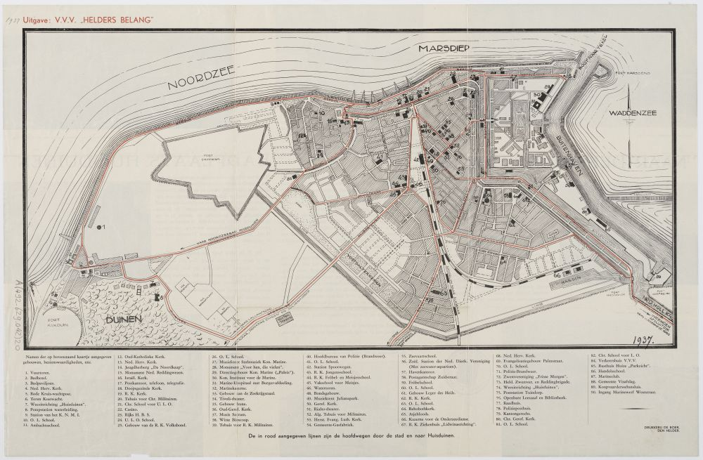 Kaart van Den Helder en Huisduinen