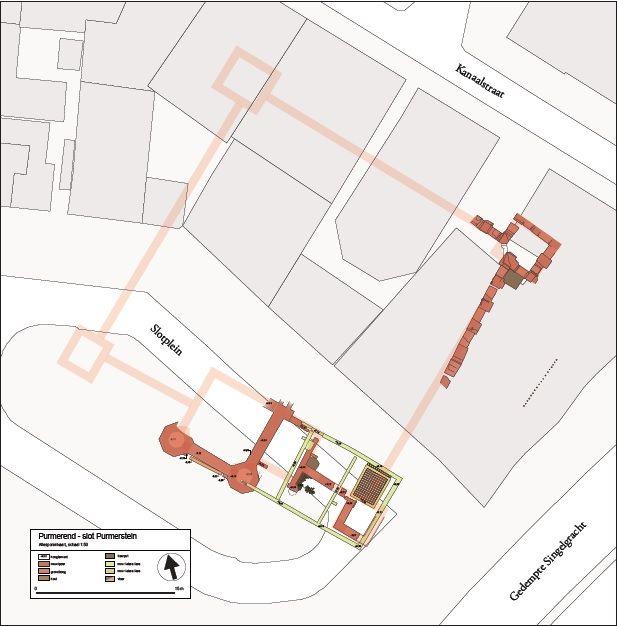 Overzicht funderingen met reconstructie van Slot Purmerstein.