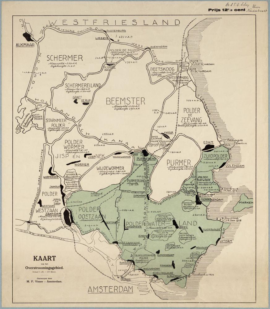 Kaart van het in 1916 in Waterland/Zaanstreek overstroomde gebied.