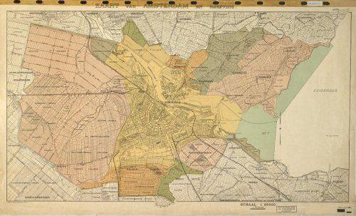 Kaart van Amsterdam met de toegevoegde gebieden na de Annexatie van 1921.
