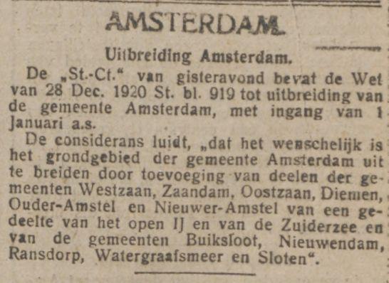 Een aankondiging van de wet tot uitbreiding van de gemeente Amsterdam in De Tijd op 30 december 1920