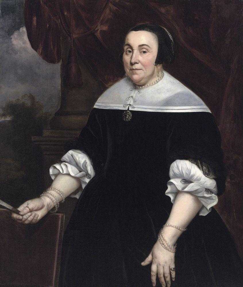 Anna van Gelder, de derde vrouw van Michiel de Ruyter. Geschilderd door Hendrick Berckman in 1668.