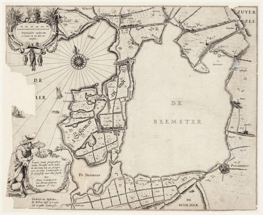 Kaart van de Beemster door Cort,1607