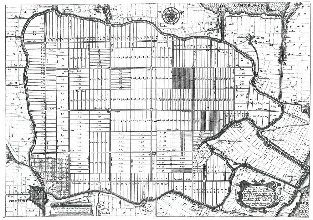 Kaart Beemster door Dou c.s. met zijn typerende strakke rechthoeken