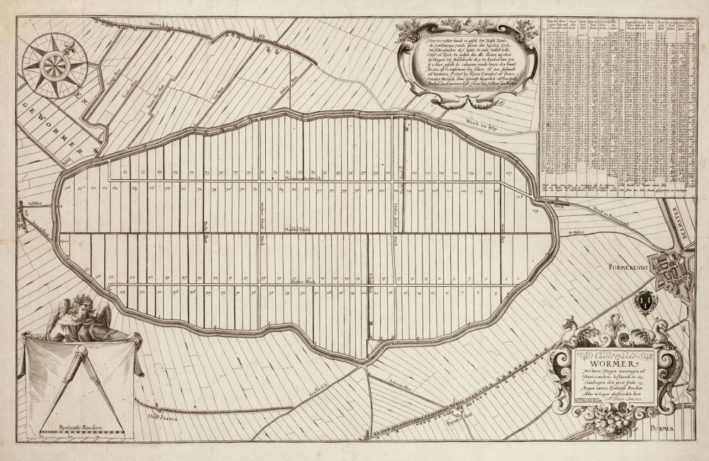 Kaart Wijde Wormer. De kaarten gaven niet alleen informatie over het werkgebied van het hoogheemraadschap, ze werden ook fraai versierd