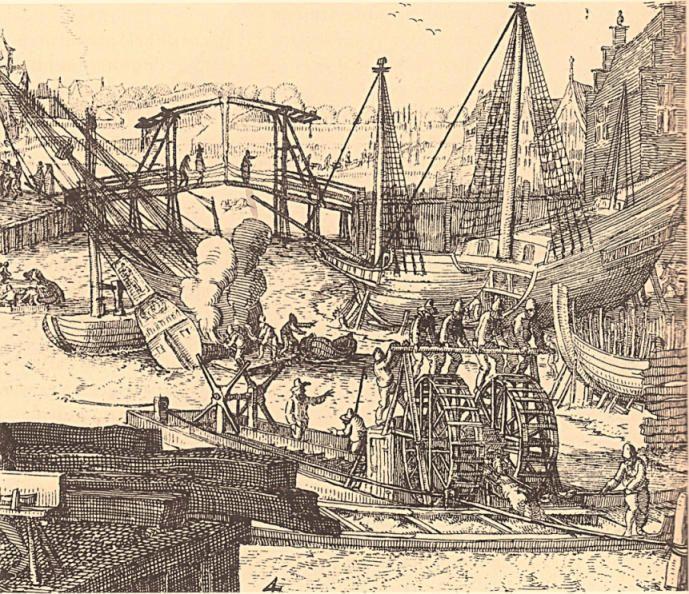 De moddermolen van Joost Jansz. Bilhamer, omstreeks 1575.