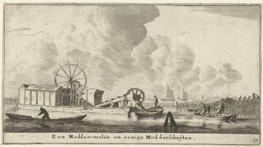 Rosmoddermolen en modderschuiten, 1652-1654.