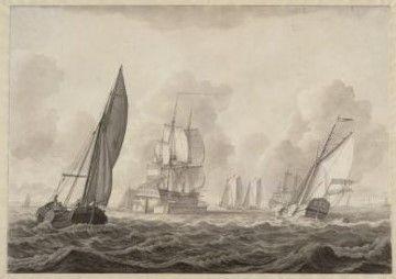 Een schip wordt met een scheepskameel over de ondiepte bij Pampus gesleept, 1799.