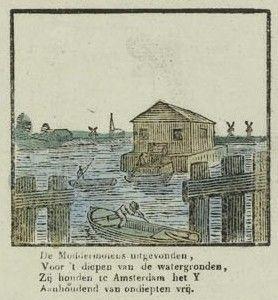 Een rosmoddermolen op een centsprent, 1819-1840.