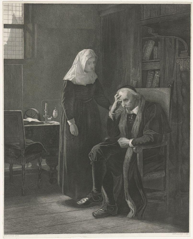 In een vertrekt zit Joost van den Vondel peinzend op een stoel. Zijn dochter staat naast hem en raakt zijn schouder aan. Johann Heinrich Maria Hubert Rennefeld, naar Hendrik Albert van Trigt, 1845 – 1877.