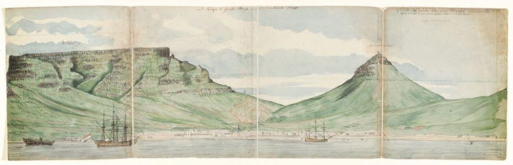 Jan Brandes, De Tafelberg en Kaapstad gezien vanaf de zee, 1787. Rijksmuseum Amsterdam