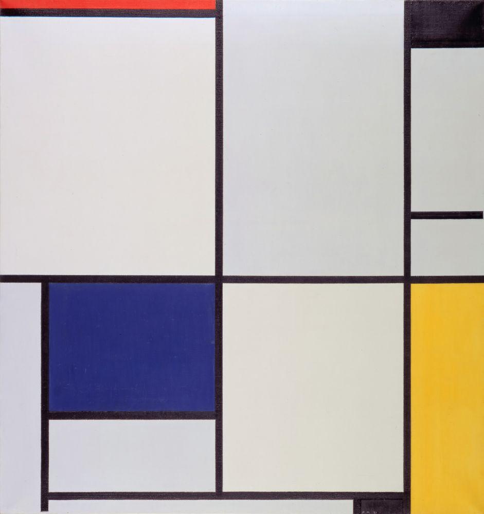 Piet Mondriaan, Tableau I, 1921, olieverf op doek, 103 x 100 cm, Gemeentemuseum Den Haag. Foto: Wikipedia