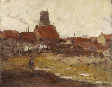 Piet Mondriaan, Gezicht op de Schinkelbuurt, ca. 1895, olieverf op karton, 31 x 38,5 cm, Gemeentemuseum Den Haag. Foto: Hart Amsterdam