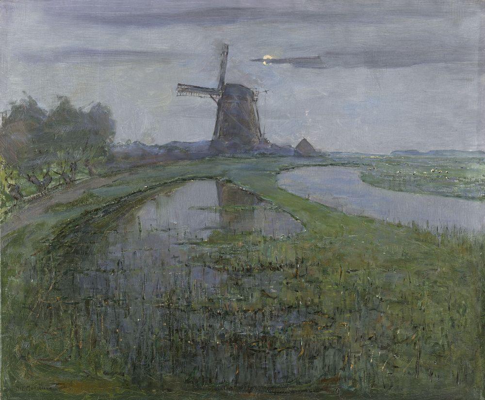 Piet Mondriaan, De Oostzijdse molen aan het Gein bij maanlicht, ca. 1902-1903, olieverf op doek, 63 x 75,4 cm, Rijksmuseum Amsterdam. Foto: Wikipedia