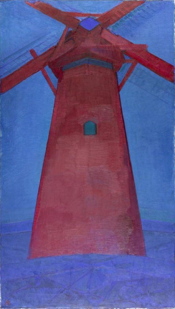 Piet Mondriaan, De rode molen, 1911, olieverf op doek, 150 x 86 cm, Gemeentemuseum Den Haag. Foto: Wikipedia