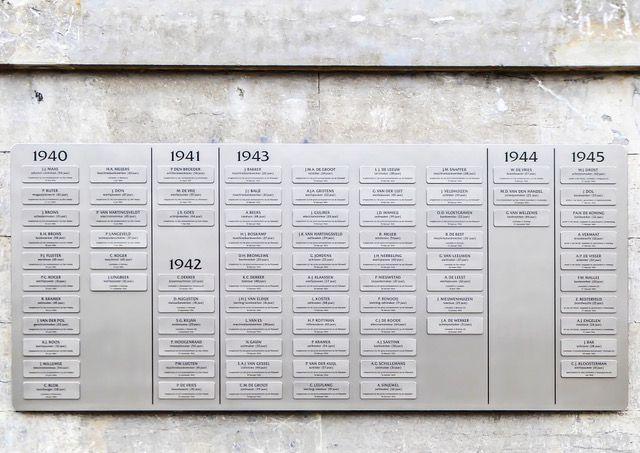 De namen van alle slachtoffers, geordend op jaar en alfabetische volgorde.