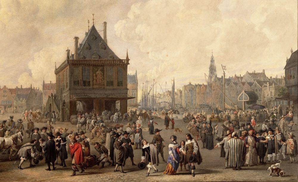 De Dam in 1656, tekening Reinier Craeyvanger uit ca. 1860 naar een schilderij van Jan Lingelbach uit 1656. Beeld: Stadsarchief Amsterdam