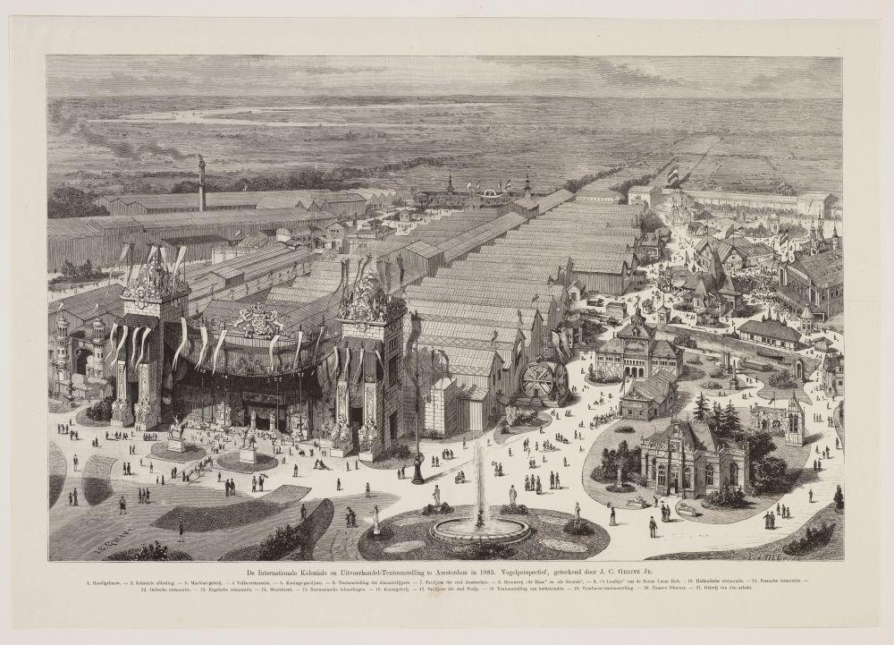 In 1883 vond op het Museumplein de Internationale Koloniale en Uitvoerhandel Tentoonstelling plaats. Beeld: Stadsarchief Amsterdam.