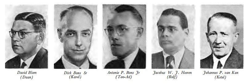 Vijf van de op 27 maart 1945 gearresteerde leden van Linie-West.