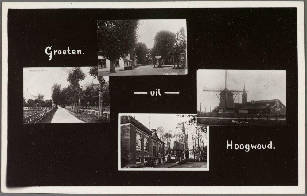 Onderaan het gemeentehuis van Hoogwoud, waar vader Niele de bonkaarten stal.