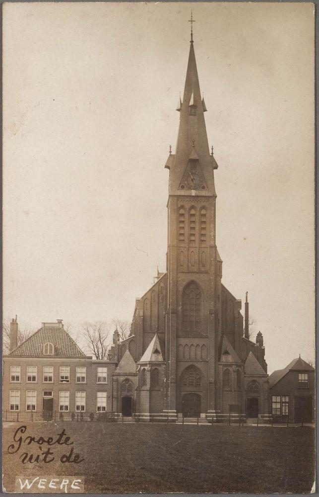De kerk van De Weere in de jaren twintig.