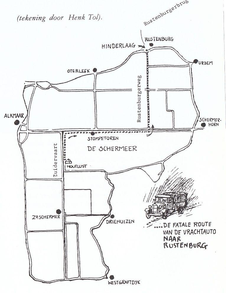 De route die de transportgroep heeft afgelegd.