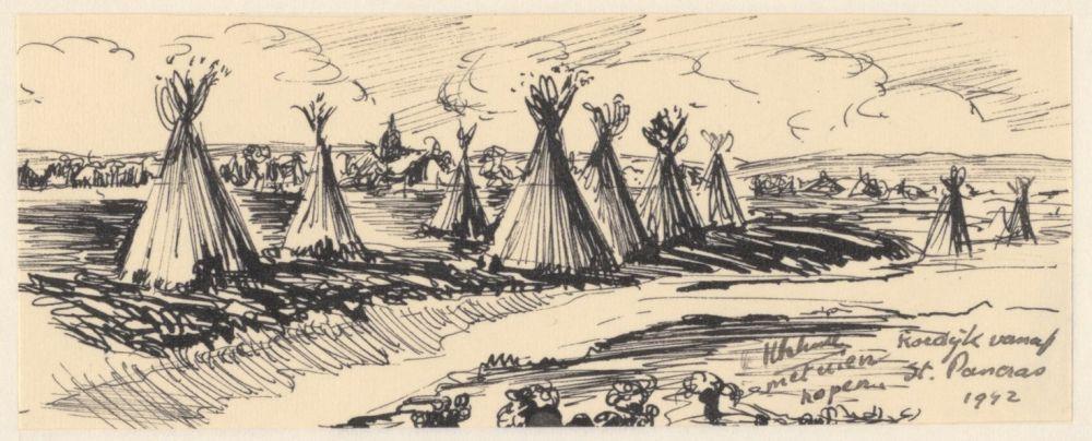 Tekening van de tuinderijen van Sint Pancras uit de oorlog.