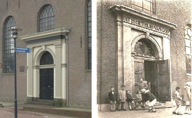Ingangsportaal Nieuwe Kerk (links) en Petrus en Pauluskerk (rechts).