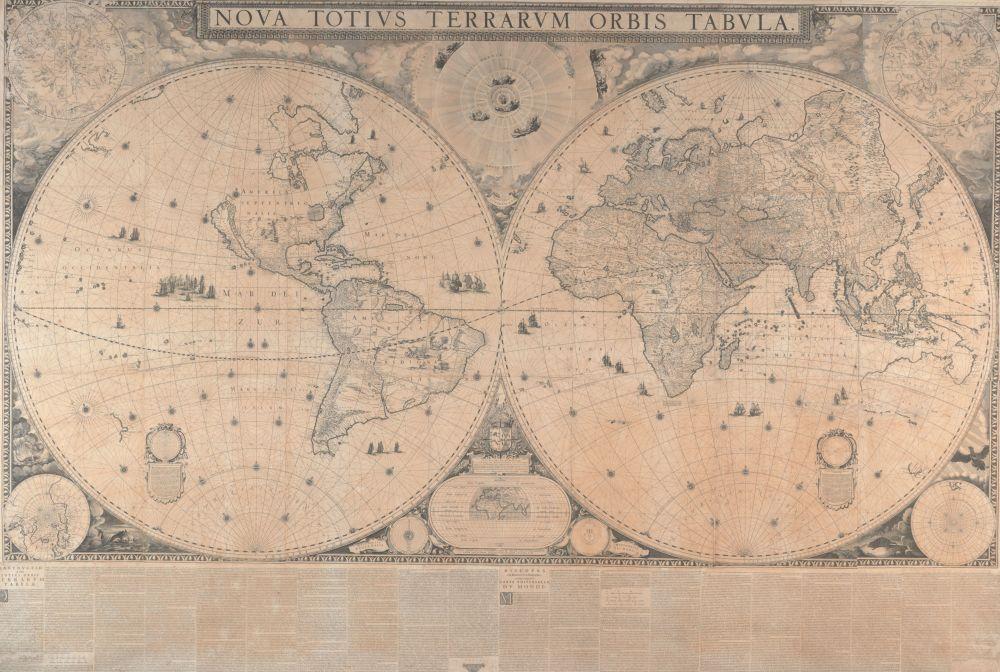 De wereldkaart van Joan Blaeu uit 1648, met een update in 1655.