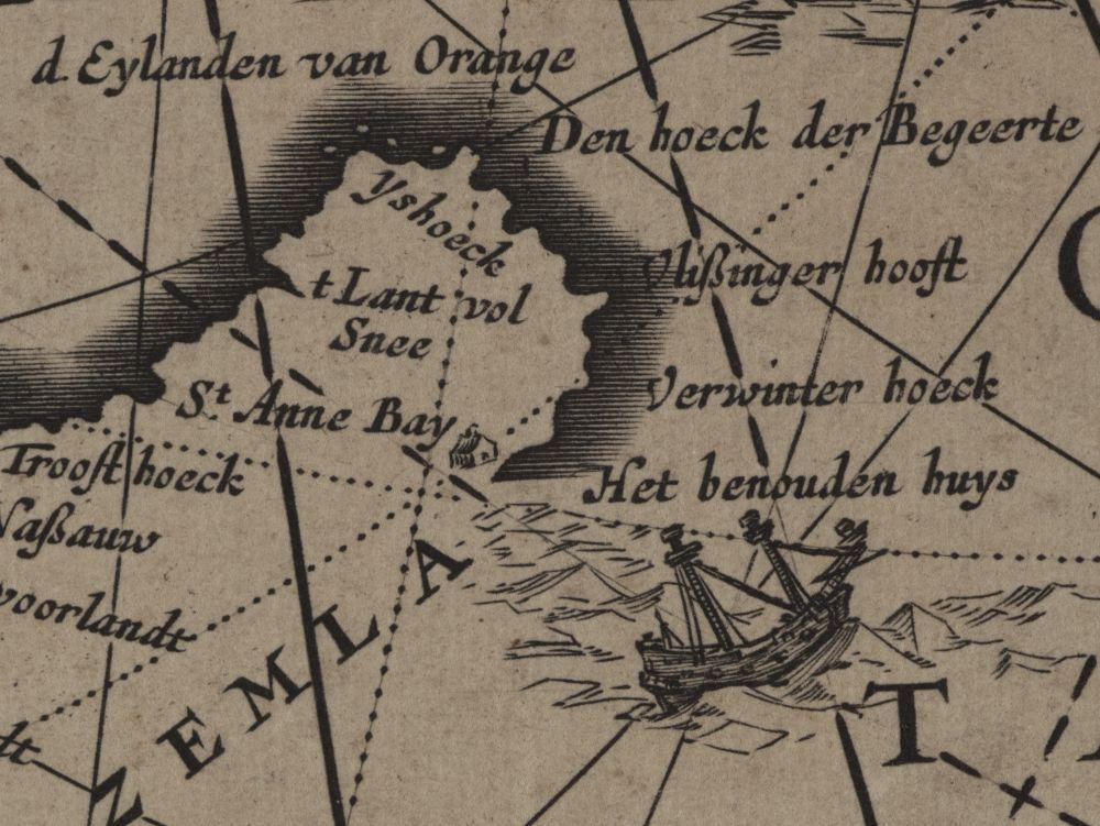 Detail van Nova Zembla, met een piepklein 'behouden huys'.