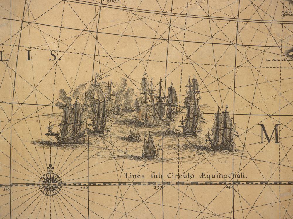 Detail van een zeeslag.